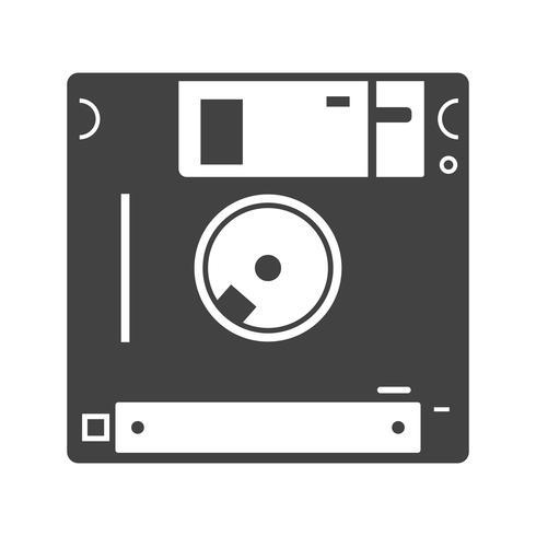 Icona del glifo con dischetto nero vettore