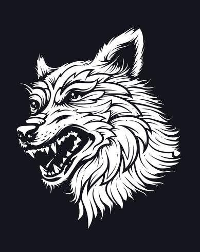 Old School Wolf vector