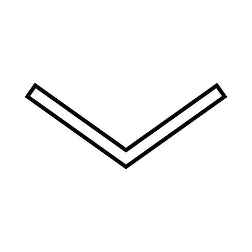 Ícone de seta para baixo linha preta vetor