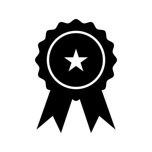 Glifo de medalha ícone preto vetor