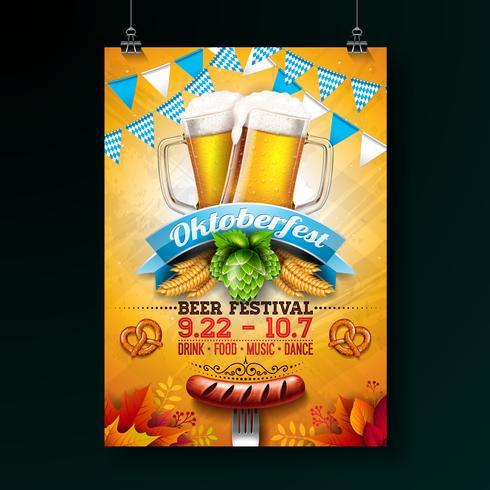 Oktoberfest party poster illustration