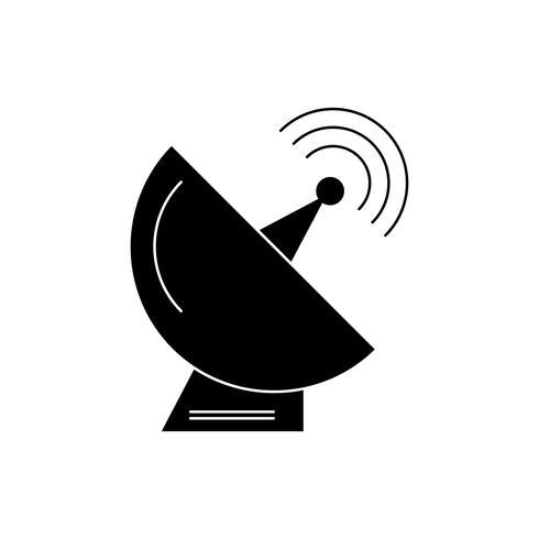 Satellietschotel glyph zwart pictogram