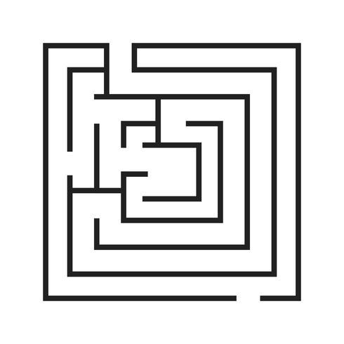 labyrint linje svart ikon vektor