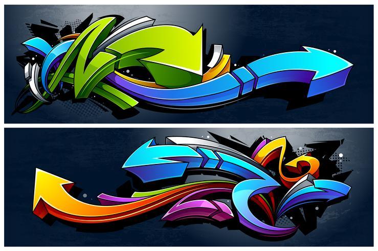 Graffiti flechas Banners vector