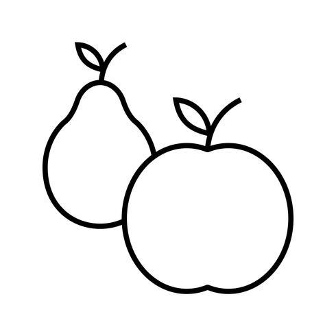 icona linea nera di frutta