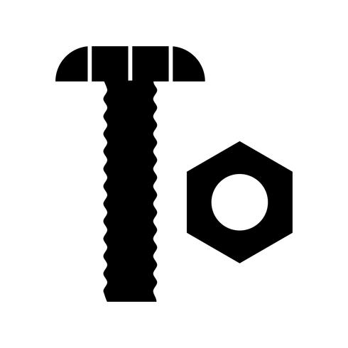 Nut and Bolt glyph black icon