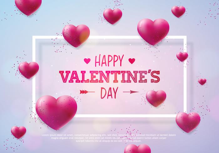 Valentines Day Design with Red Hearts  vector