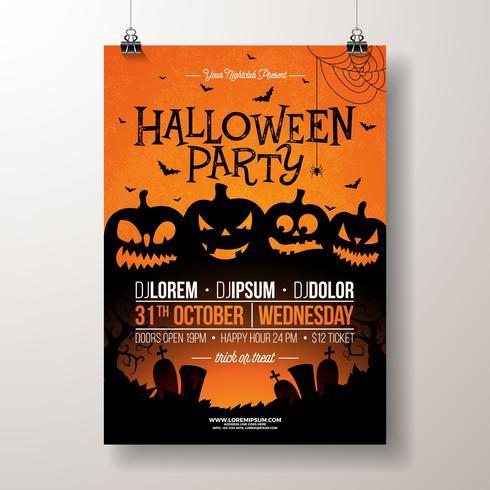 Illustration de flyer fête d'Halloween