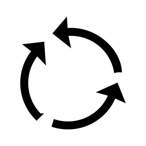 Ciclo de flecha glifo negro icono