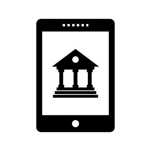 mobiel bankieren glyph zwart pictogram