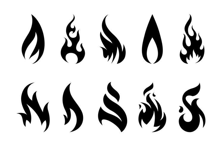 Icônes de feu de vecteur