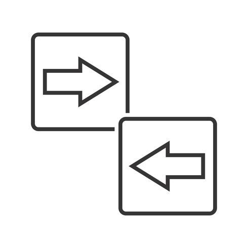 pijl richting lijn zwart pictogram