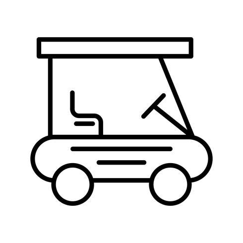 Golf buggy lijn zwarte pictogram