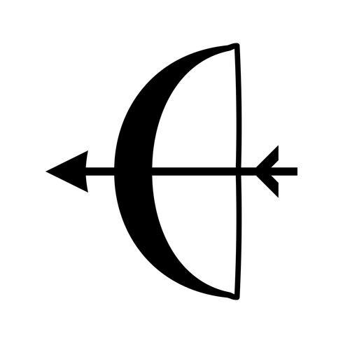 Bågskytte glyph black icon