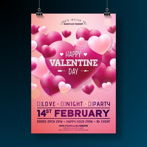 Vektor Valentines Day Party Flyer