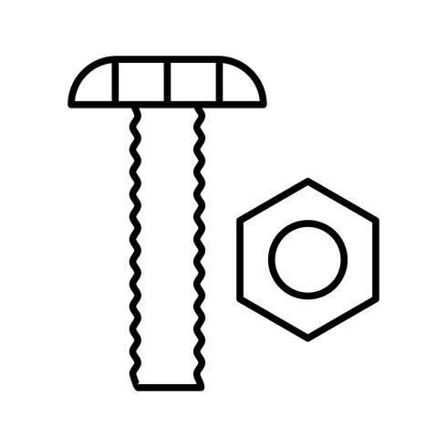Porca e parafuso ícone preto de linha