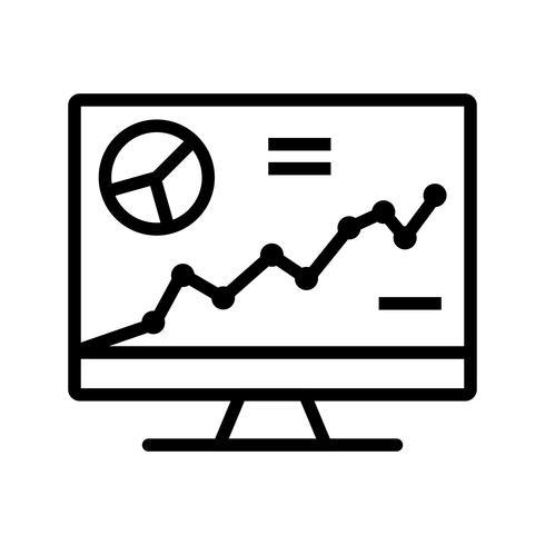 Analytics auf der Bildschirmzeile schwarzes Symbol