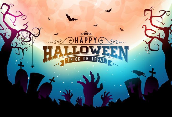 Ilustración de banner de halloween feliz vector