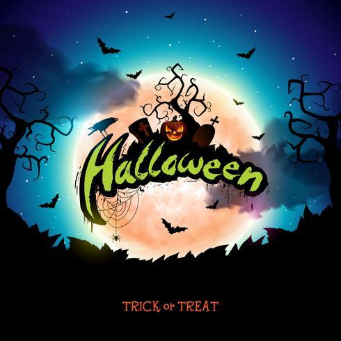 Ilustración de banner de halloween feliz
