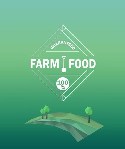 Vector boerderij voedsel logo in kaderstijl.