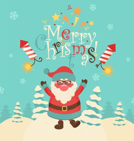 Christmas retro vector illustration with Santa.