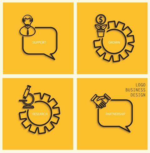 Suporte de vetor, negócios crescidos, pesquisa, parceria em estilo simples.