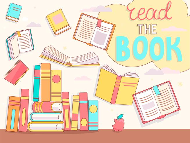 Leer el concepto de libro, cerrar y abrir libros. vector