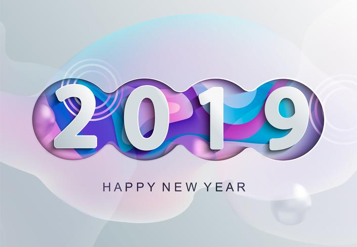 2019 Creative happy new year card in paper style. vector