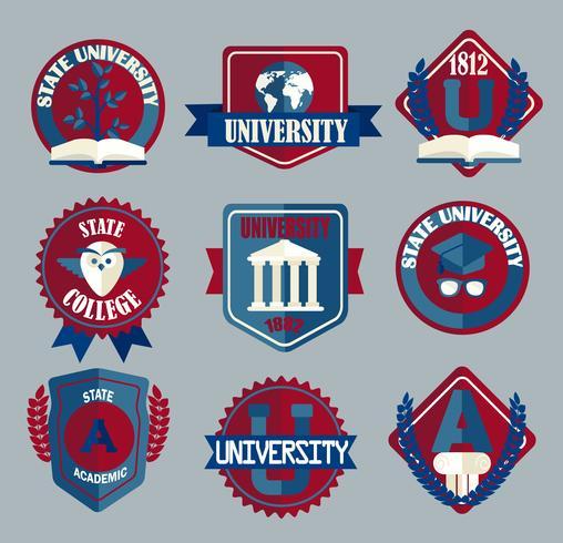Conjunto de vetores de emblemas de escola universitária e faculdade.