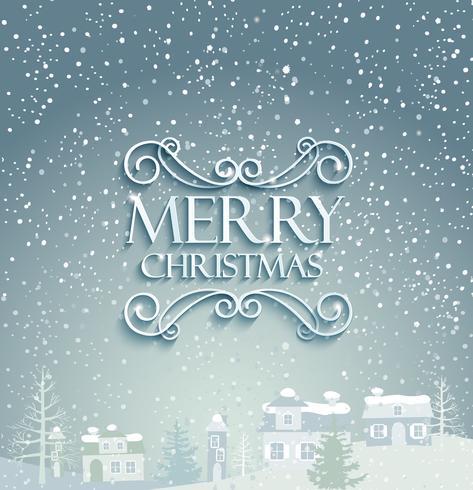 Feliz navidad con fondo de invierno.