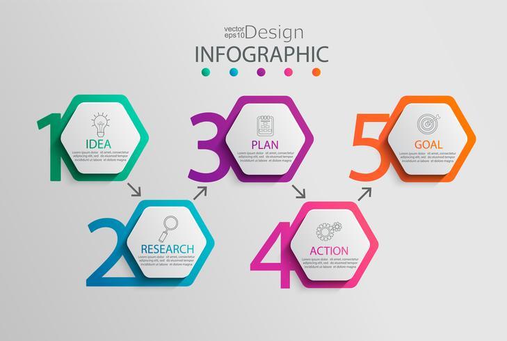 Modelo de papel infográfico com 5 opções de hexágono. vetor
