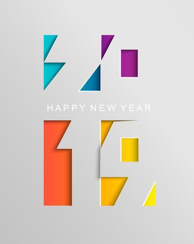 Tarjeta para 2019 feliz año nuevo en estilo de papel.