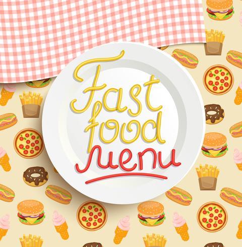 Plato con una inscripción del menú de comida rápida.