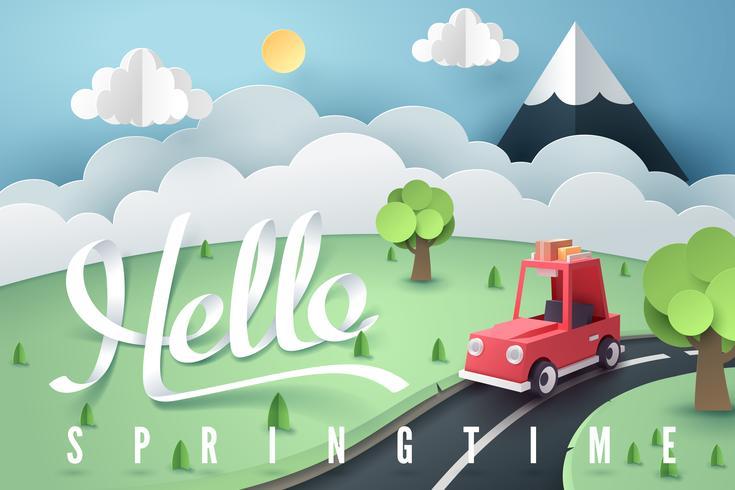 Arte de papel del bosque rojo del coche y la montaña con letras Hola primavera