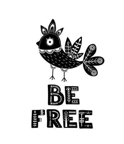 Tarjeta en blanco y negro con letras y aves.