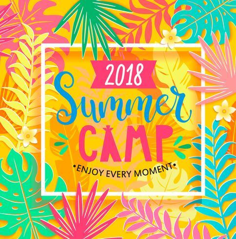 Campamento de verano 2018 letras sobre fondo de selva. vector