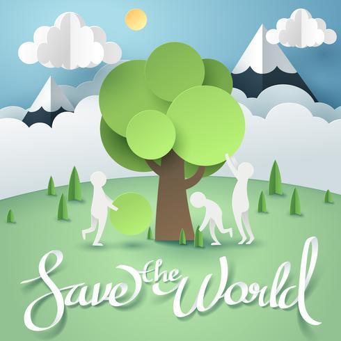 El arte en papel de las personas crea y construye un árbol, un entorno mundial sostenible.