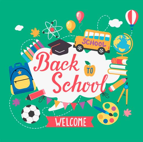 Banner welcome Back To School. vector