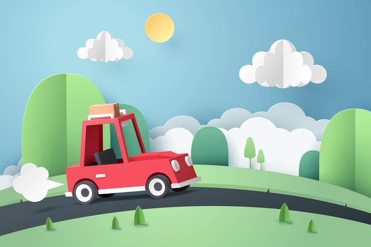 Papierkunst van rode auto landweg berg, origami en reizen