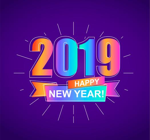 2019 Happy New Year colorful card. Vector.