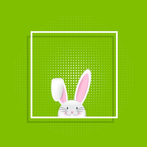 Conejito de Pascua en marco blanco