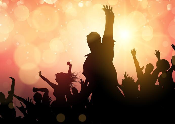Party Menge auf Bokeh beleuchtet Hintergrund vektor
