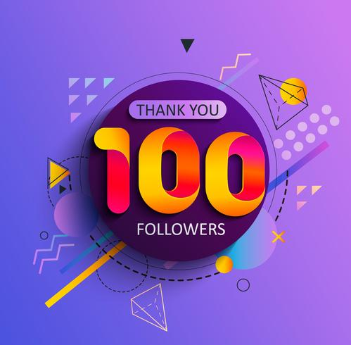 Thank you first 100 followers. vector