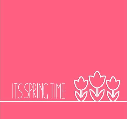 Carte de printemps sur fond rose.