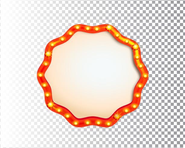 Cadre de cercle de lumière brillante ampoule rétro isolé
