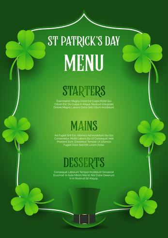 St Patrick's Day meny design med topp hatt och klöver