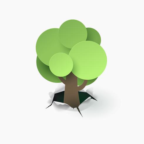 Carta bianca di crescita dell'albero della carta di arte alla terra, mondo sostenibile