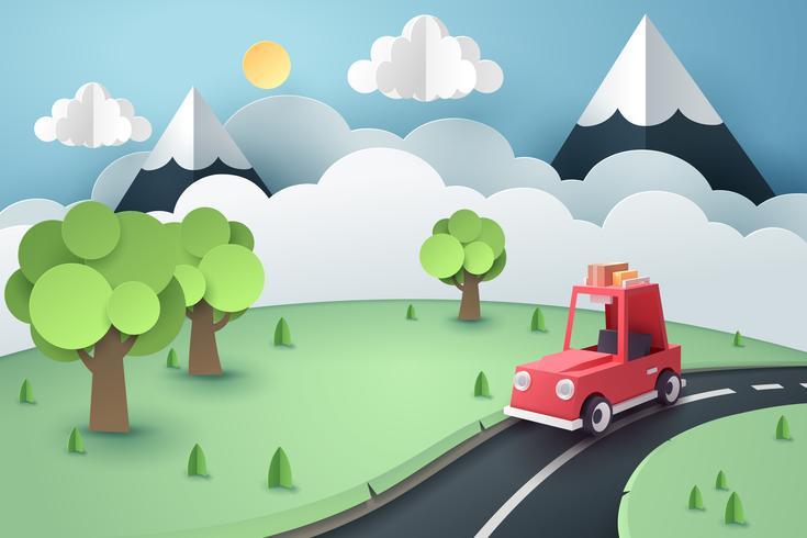 Papier kunst van rode auto landweg bos en berg, origami en reizen
