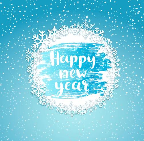 Feliz ano novo, quadro de flocos de neve.