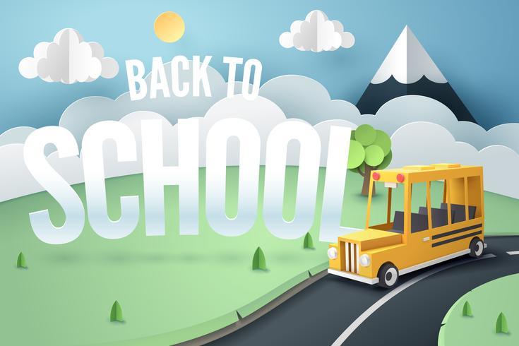 Arte di carta dello scuolabus in esecuzione su strada campestre